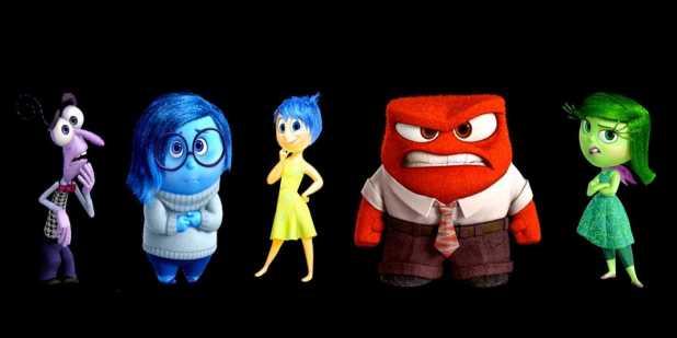 Personnages (peur, tristesse, joie, colère, dégoût) de Vice versa (Pixar)