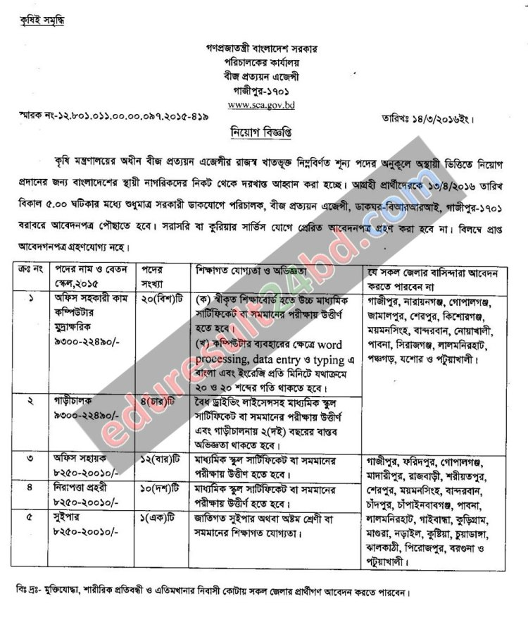 Seed Certification Agency Job Circular 2016