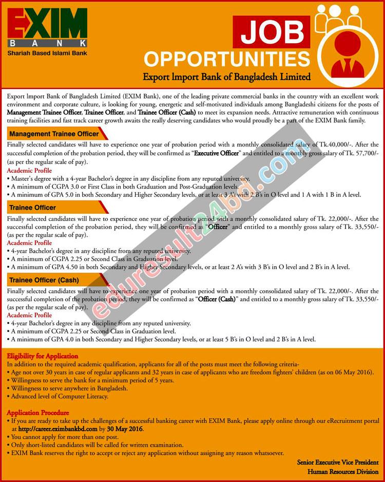 Exim Bank Limited Job Circular 2016