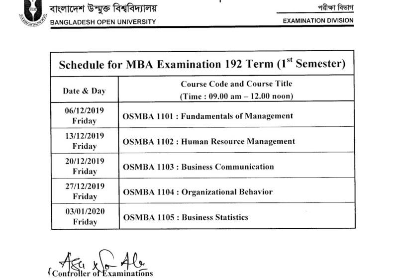 Open University MBA Exam Routine 2020