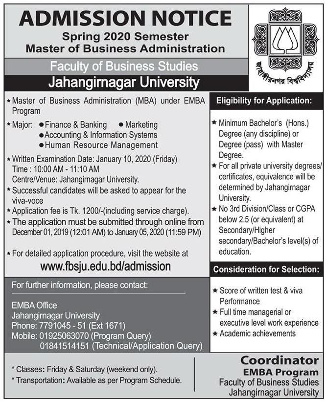 Jahangirnagar University EMBA Admission Circular 2020