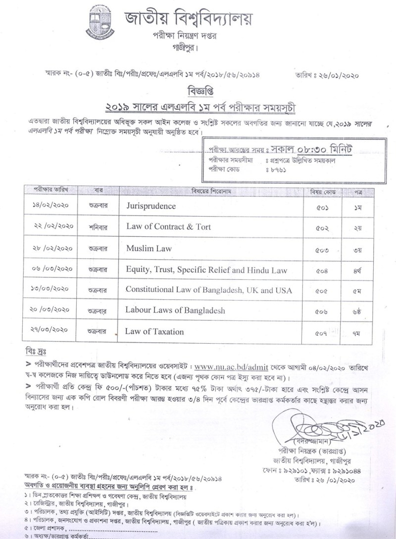 National University LLB 1st Year Exam Routine 2020
