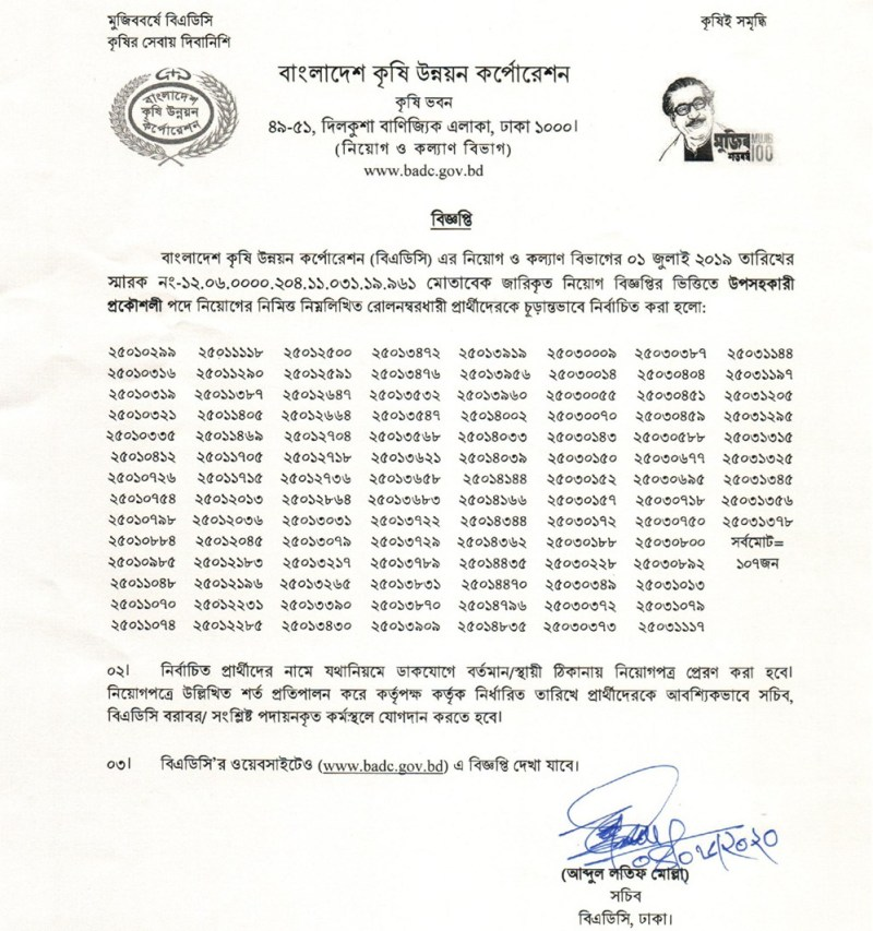 BADC Sub-Assistant Engineer Exam Result 2020