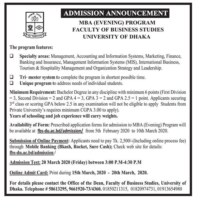 Dhaka University EMBA Admission Notice 2020