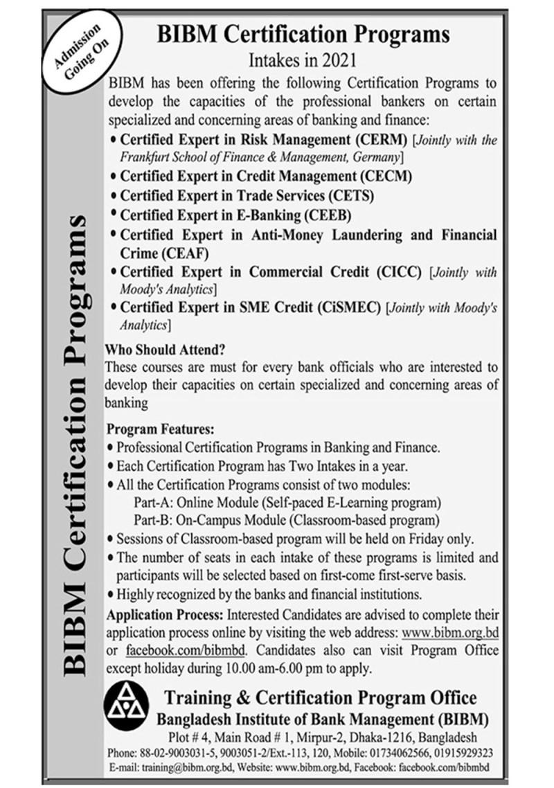 BIBM Certification Program Admission Circular 2021
