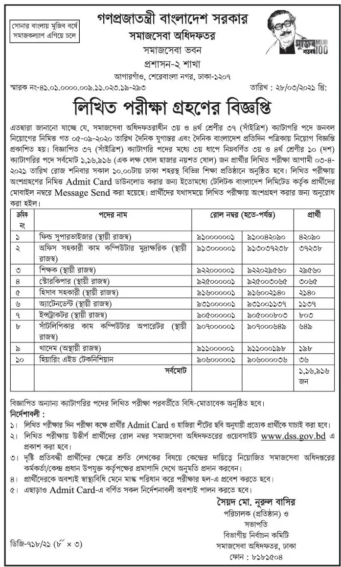 Social Services Department Exam Routine 2021