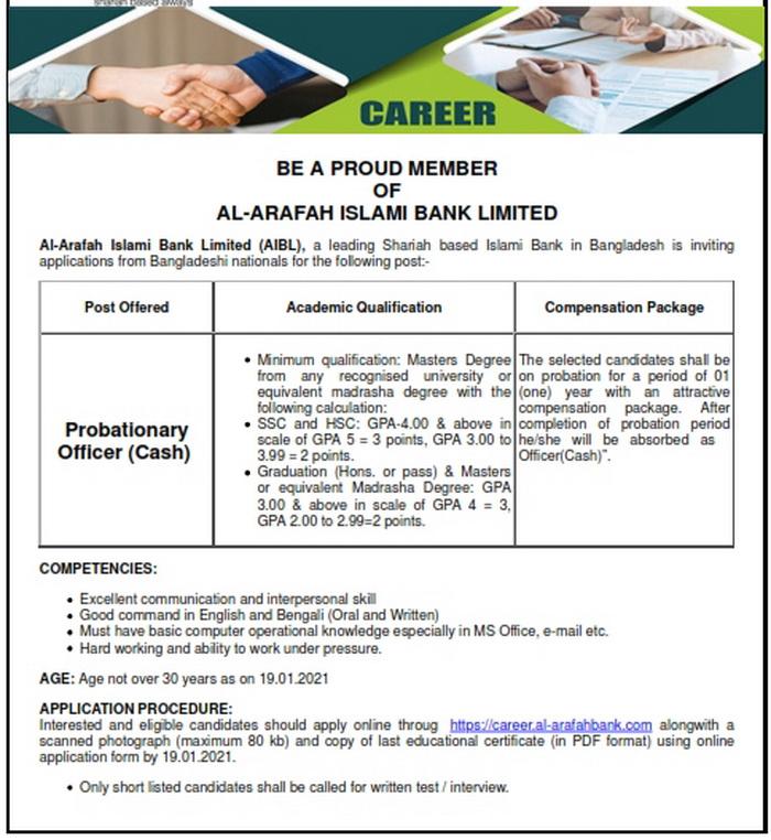 Al-Arafah Islam Bank Job Circular 2021