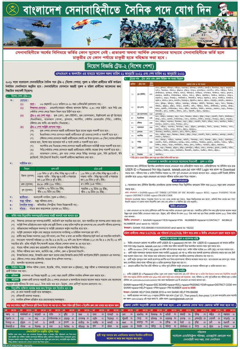 Bangladesh Army Soldier Trade-2 Job Circular 2021