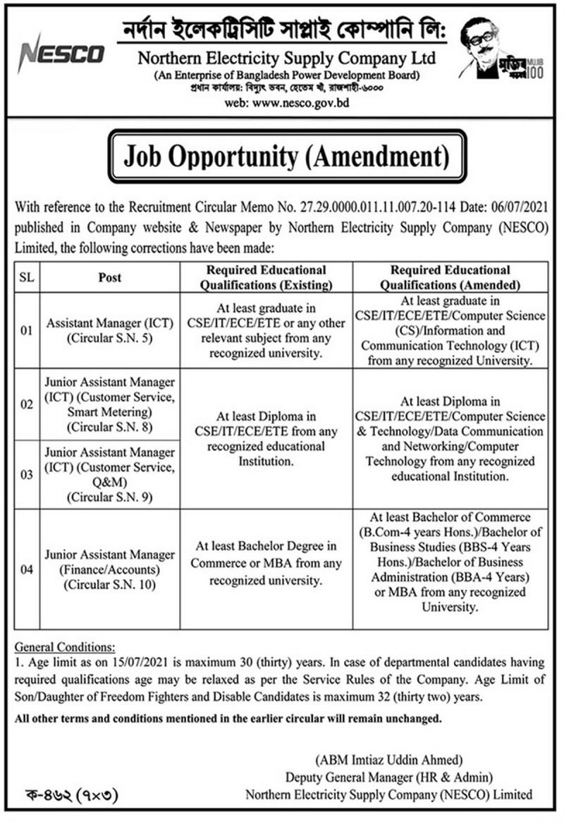 North Electricity Supply Company (NESCO) Job Circular 2021