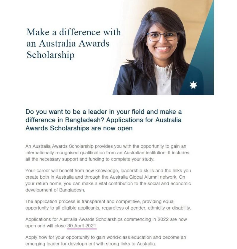 Australia Awards Scholarship Circular-2021-2022