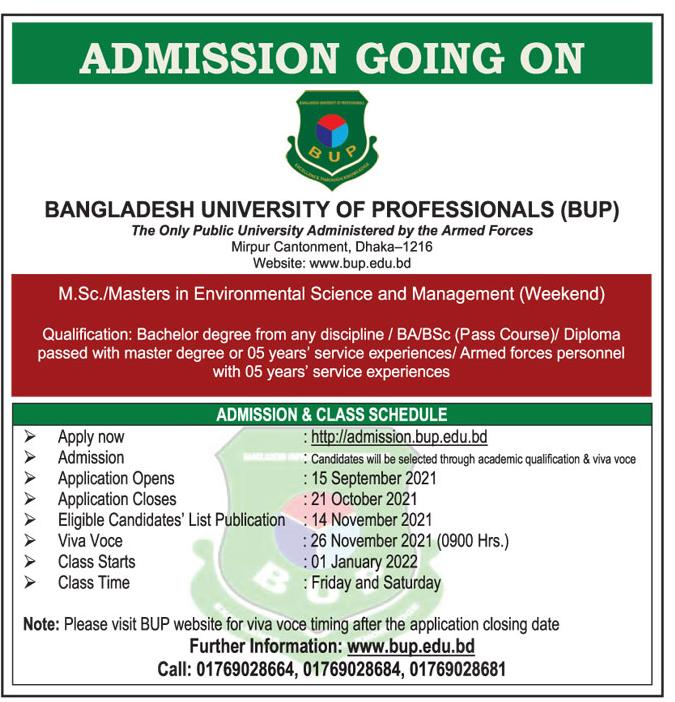 BUP Masters Admission Test Circular 2021