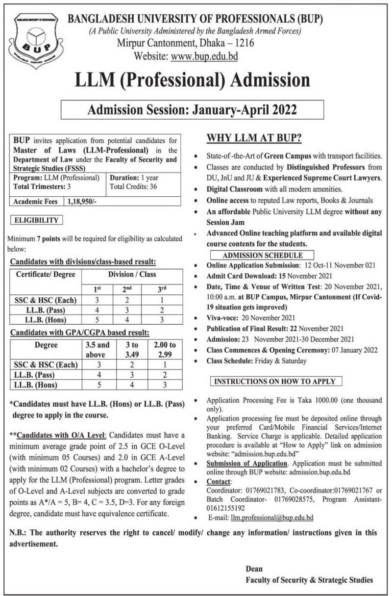 BUP LLM Admission Notice 2021
