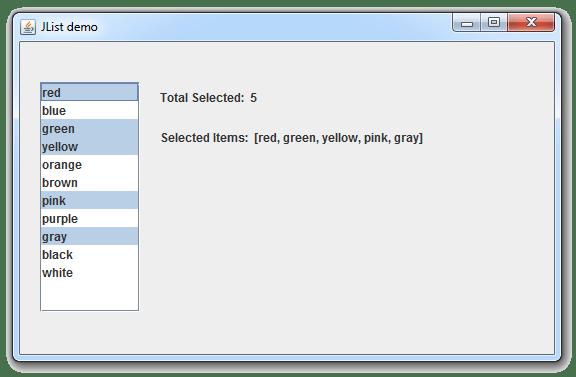 طريقة معرفة عدد و قيم العناصر التي قام المستخدم باختيارها في القائمة JList في جافا