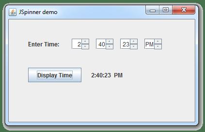 إنشاء واجهة لإدخال الوقت من خلال JSpinner في جافا
