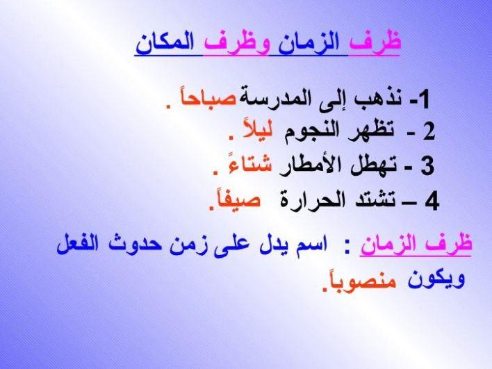 ظرف زمان..قواعد اللغة العربية