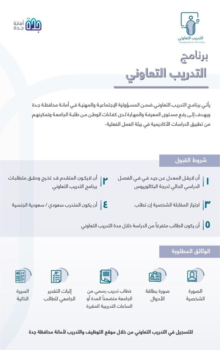 أمانة محافظة جدة تعلن بدء التقديم في برنامج التدريب التعاوني لطلاب الجامعات