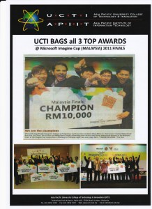 Asia Pacific University students have won the Microsoft Imagine Cup for the past 3 years and have represented Malaysia in the world competition