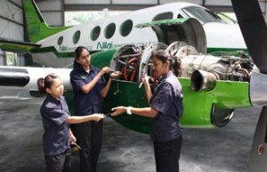 Diploma in Aircraft Maintenance students at Nilai University learn and practice on actual planes in the hangar on the university's campus.