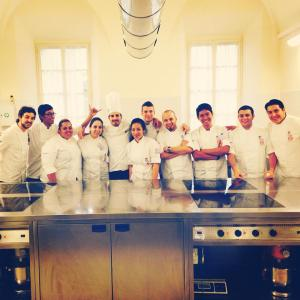 KDU Culinary Arts students, Gladlyn, Daniel, and Azfar, classroom experience with Chef Torturro (Pastry class) at ALMA, Italy