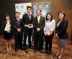 Joel Wong, from HELP University, with EY Management and other finalists.