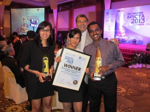 Jasmine Kaur, Asia Pacific University student, winning the International Asia Pacific ICT Awards (APICTA) 2013 – 'Best of Tertiary Student Project'