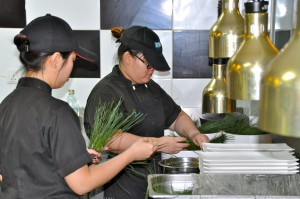 KDU University College Culinary Arts students preparing the pine needles for the molecular cuisine