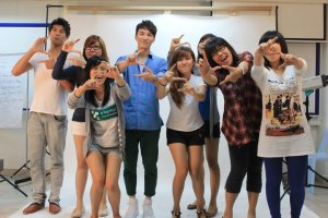 Actor, Lawrence Wong, with KDU students