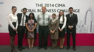 1st Runner Up in the 2014 Chartered Institute of Management Accounting (CIMA) GLOBAL Business Challenge Malaysia - Ali Atiq, Nikita Arabel Pironti, Kasimova Shafia and Veeresh Roy Joggesser, who are all third year BA (Hons) in Accounting and Finance students from APU