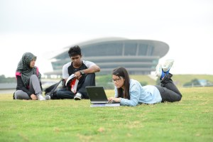 Heriot-Watt University Malaysia students studying on top of the building's green roof – the first of its kind in Malaysia