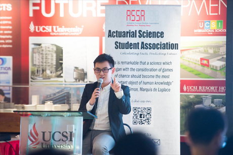 Ong Shze Yeong, Head of Actuarial at AXA Affin General Insurance Berhad was at UCSI University to discuss the general insurance industry in Malaysia and to share career insights in this emerging market.
