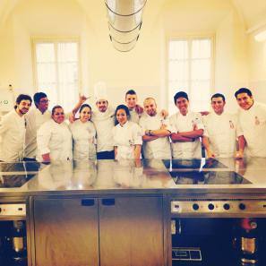 University of Wollongong (UOW) Malaysia KDU Culinary Arts students, Gladlyn, Daniel, and Azfar, classroom experience with Chef Torturro (Pastry class) at ALMA, Italy
