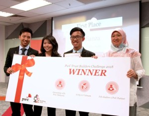 From left: Ong Shu Yi, Wendy Huang Shi Qi and Marcus Liaw Jia Yoong from Team Confianza and Miss Nurul A'in Abdul Latif, Markets Leader of PwC Malaysia.