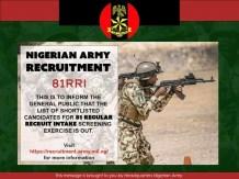 Nigerian Army Nationwide Recruitment 2022  Trades / Non Tradesmen & Women (82RRI)