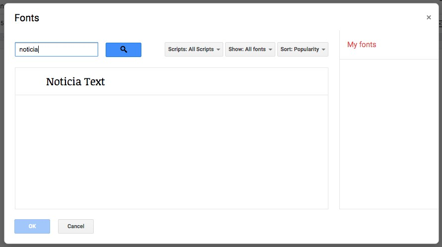 Adding more newspaper fonts in google docs