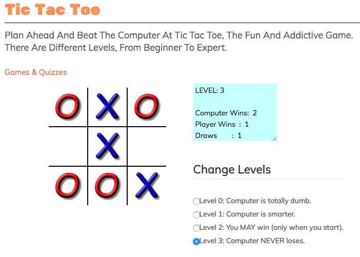 tic tac toe game with different difficultly level from safe search kids