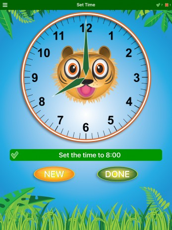 teach telling time with jungle time app
