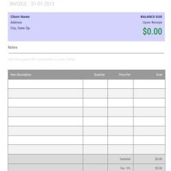 Blank Invoice Template Google Docs Editable