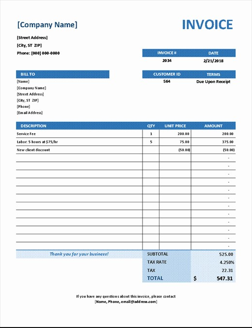 Blue Simple Service Invoice Template for Excel