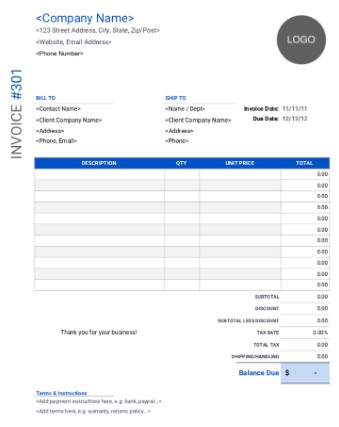 Borderless Blue and White Circle Logo Invoice Template for Google Docs and Sheet