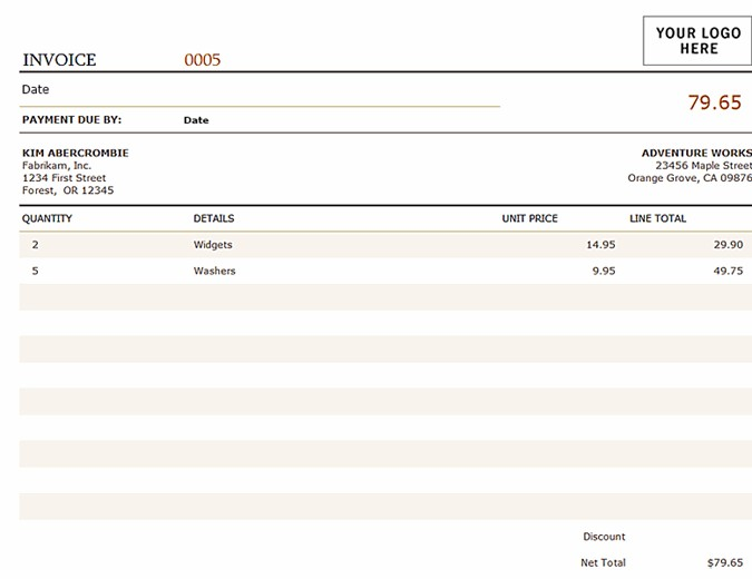 Brown Wide Invoice Template Excel