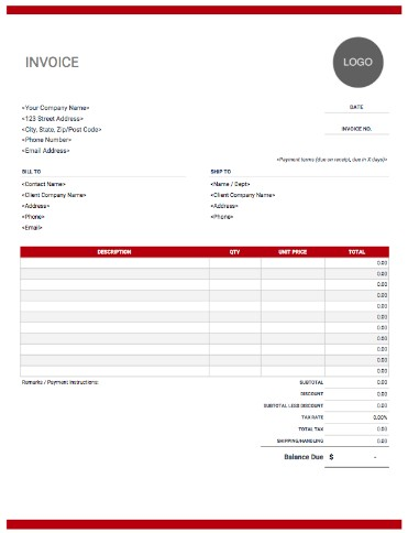 Google Docs and Sheet Invoice Template with Logo Red