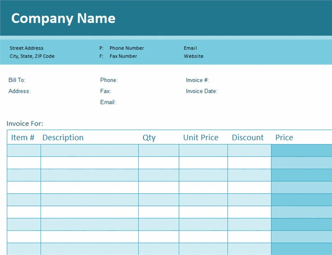 Simple Blue Blank Invoice Template in Excel