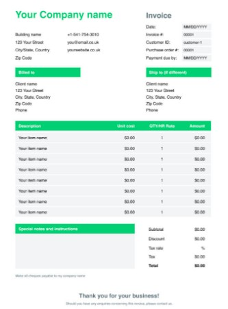 Wise Green Invoice Google Docs