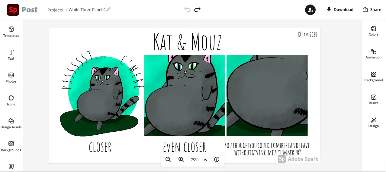 Create comic strips online free using adobe sparks