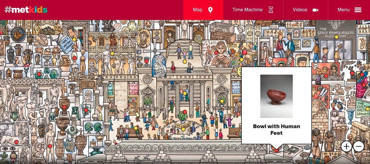Interactive Map in Virtual Museum Tour with metKids