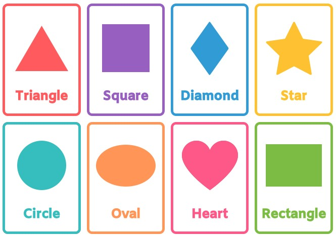 basic shapes flashcards free printable for toddlers kindergarten preschoolers colors template