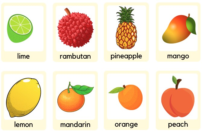 download free printable fruits flash card power point or pdf for teaching toddlers english