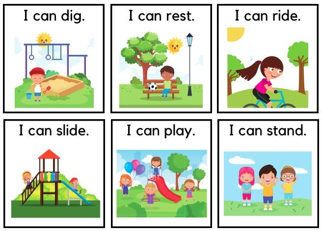 use flashcard to teach simple sentence verb vocabulary