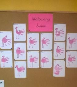 Flamingi z odciśniętych rączek Emilia Lalak Jesień (Prace plastyczne) Prace plastyczne Prace plastyczne (Dzień Zwierząt) Światowy Dzień Zwierząt Wiosna (Prace plastyczne) Zwierzęta (Prace plastyczne)