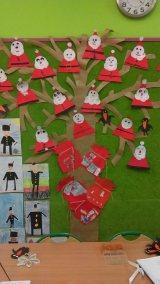 Mikołajkowe drzewo z trójkąta i koła Dzień Drzewa Izabela Kowalska Mikołajki Nauka kształtów Postacie (Prace plastyczne) Prace plastyczne Prace plastyczne (Dzień drzewa) Prace plastyczne (Mikołajki) Święta Zima (Prace plastyczne)